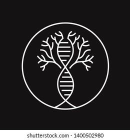 trees neuron DNA line art logo design badge illustration