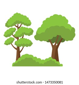 Trees on bushes nature cartoon ,vector illustration graphic design.