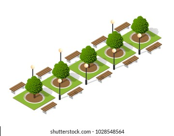 Trees of a park bench urban landscape isometric view of design elements set.