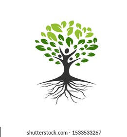 TREES WITH PEOPLE LOGO VECTOR