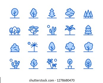 Trees, Plants Blue Line Icon. Vector Illustration Flat style. Included Icons as Fir Tree, Palm, Park, Desert, Cactus, Bush, Forest and more Editable Stroke