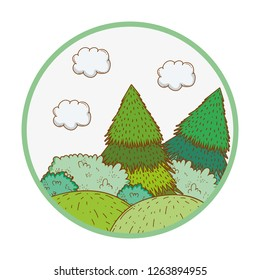 trees rural landscape in round icon