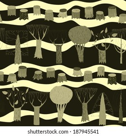 Trees seamless pattern tapestry in grey is hand drawn grunge illustration of woodland. Illustration is in eps8 vector mode, background on separate layer.