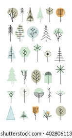 Trees set. Geometric shapes. Line abstract design. Vector illustration.
