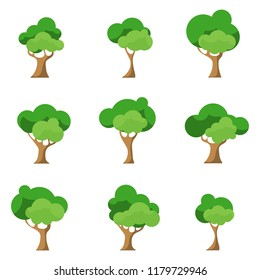 Trees, a set of green trees. Vector illustration of green trees.