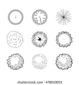 Trees set top view plan. Architectural symbols for landscape design and projects. vector illustration of 9 black plant objects. line sketch on white background