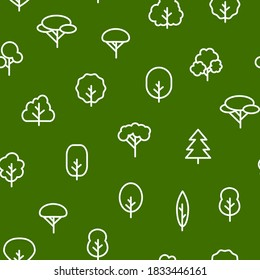 Trees Signs Thin Line Concept Seamless Pattern Background Include of Pine, Oak and Firtree. Vector illustration of Icons