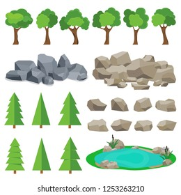 Trees, stones, lakes. A set of realistic elements of nature. Flat design, vector illustration, vector.