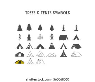 Trees and tent vector shapes and elements collection