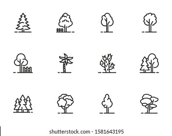 Trees thin line icon set. Forest, park and garden trees isolated sign pack. Nature concept. Vector illustration symbol elements for web design and apps.