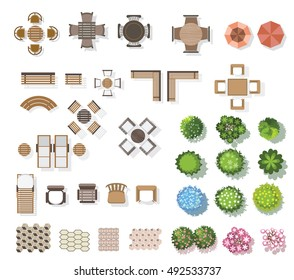 Trees top view , furniture, floor, for landscape . vector illustration