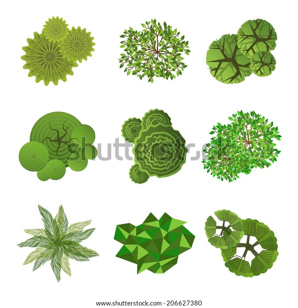Trees Top View Landscape Design Use Stock Vector Royalty Free