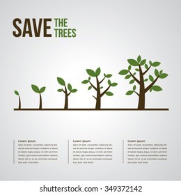 Trees Vector Illustrate Growing