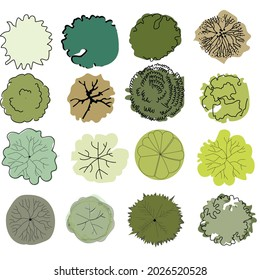 Trees view from above. An illustration for landscape design with trees of different shapes, breeds and colors. Designation of trees and shrubs of different types for the garden project. landscape desi