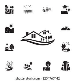 trees in the village icon. Detailed set of landscapes icons. Premium graphic design. One of the collection icons for websites, web design, mobile app