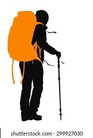 Trekker vector silhouette with orange backpack. EPS 10