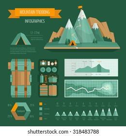 Trekking, climbing and hiking infographics.