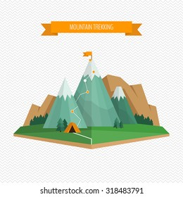 Trekking and hiking concept.