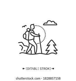 Trekking line icon. Adventure tourism. Mountain tourism. Backpacking. Long distance walking trip with camping stops. Mount climbing.Tourism types concept. Isolated vector illustration.Editable stroke