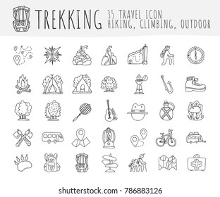 Trekking travelling icon collection, hiking hand draw cartoon icons. Camping and travel caravaning doodle illustration. Tent, compass, tracking, forest and other attributes about trek and hiking icons