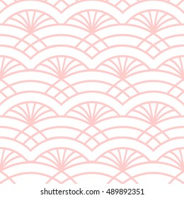 Trellis seamless pattern. Oriental colorful print in white and pink. Great for cover design, fabric print, wallpaper, wrapping paper, web page. Seamless art deco background.. Vector illustration.