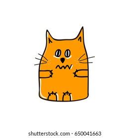 Trembling with fair orange cat. Vector illustration.