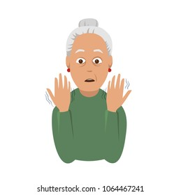 Tremor hands. An elderly woman looking at the shaking hands. Symptom of Parkinson's disease. Medical vector illustration.