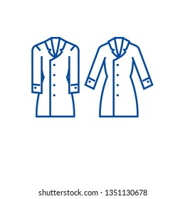 Trench coat line icon concept. Trench coat flat  vector symbol, sign, outline illustration.