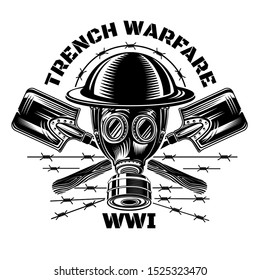 Trench warfare. Gas mask and military helmet with crossed trench showels.