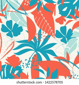 Trend abstract pattern with bright tropical leaves and plants on a white background. Vector design. Jung print. Floral background. Printing and textiles.