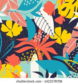 Trend abstract pattern with bright tropical leaves and plants on a dark bed background. Vector design. Jung print. Floral background. Printing and textiles.