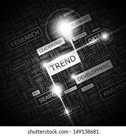 TREND. Concept vector illustration. Word cloud with related tags and terms. Graphic tag collection. Wordcloud collage.