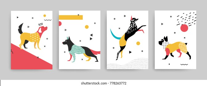 Trend cover templates for notepad. Illustration of dogs in the memphis style of the 80-90's. Set 2.