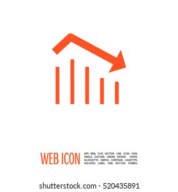 Trend down isolated minimal icon. Business graph line vector icon for websites and mobile minimalistic flat design.