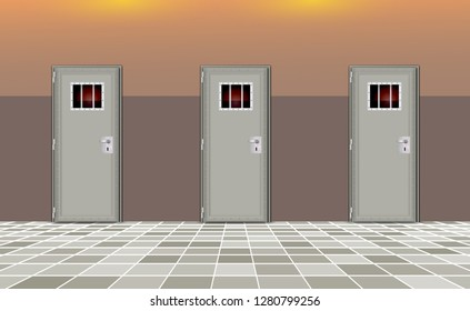 Trend european interior background prison. Jail cells modern with gray doors. Behind bars In jail, dark. Vector detailed illustration for your design and happy deprivation of freedom. eps 10