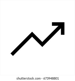 Trend up graph icon in trendy flat style isolated on grey background. Trend up graph icon page symbol for your web site design Trend up graph icon logo app, UI. Trend up graph icon Vector illustration