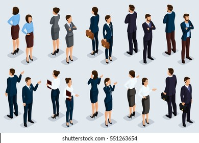 Trend Isometric people 3D businessmen and business woman in business suits, people's gestures, a front view and rear view isolated on a light background. Vector illustration