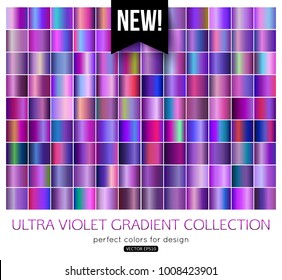 Trend Purple metal gradients collection. Ultra violet texture swatches, vector illustration