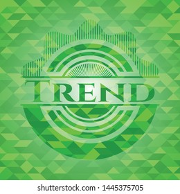 Trend realistic green mosaic emblem. Vector Illustration. Detailed.