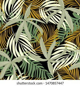 Trend seamless pattern with colorful tropical leaves and plants on black background. Vector design. Jungle print. Floral background. Printing and textiles. Exotic tropics. Summer design.