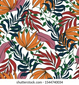 Trend seamless tropical pattern with bright red and yellow plants and leaves on a light background. Seamless pattern with colorful leaves and plants. Exotic jungle wallpaper.
