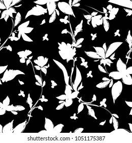 trend in textiles, vector background floral fabric, monochrome pattern seamless