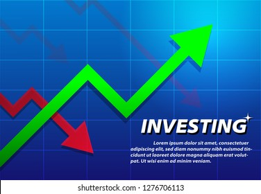 Trending Arrow up, investing background, vector