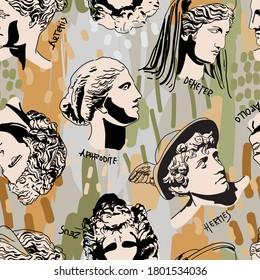 Trending Greek Gods Vector Art Portrait Seamless Pattern. Colorful  Drawing of Greek Gods