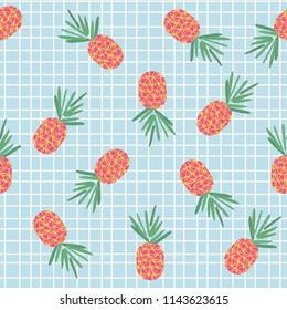 Trending pineapple pattern on tile background