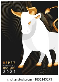 Trending poster with wishes for a Happy Chinese New Year. A large white bull with golden horns, hooves and a tail. Symbol of 2021. Thin golden lines on a black background. Vector stock illustration.