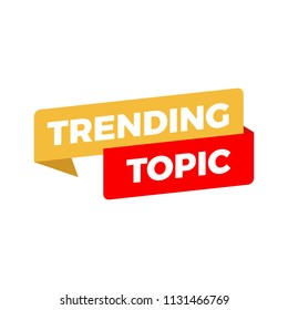 trending topic banner isolated in white