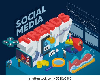 Trends in social media 2017. Flat 3d isometric banner. Chatbot, video 360 degrees, SMM promotion, online analytics. Inspiration concept template layout, diagram, step up. People at work