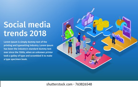 Trends in social media 2018. Chatbot, video broadcast, stories, SMM promotion, online analytics. People in social network. 3d puzzle pieces. Flat 3d isometric banner. Website banner templates.