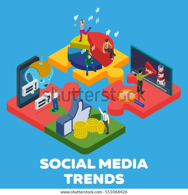 Trends in social media 2018. Flat 3d isometric banner. Chatbot, video 360 degrees, SMM promotion, online analytics. People in different poses at work. 3d puzzle pieces. Vector illustration